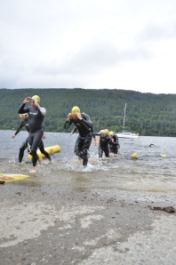 Swim exit: on the right next to the people walking with my head just out of the water!