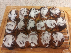 Post-race relaxation - making marzipan Chelsea buns!