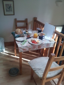 Breakfast is served upstairs