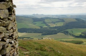 One of the views from the cairn.  Copyright Jim Barton, from geograph.org.uk