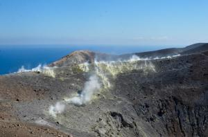 Sulphur fumaroles on Vulcano