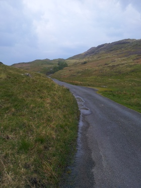 Hardknott pass, winding up to the horizon
