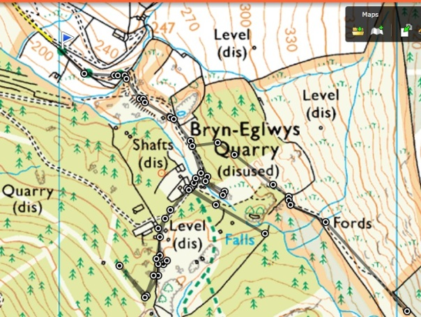 Our route in grey. We came in from the NW and eventually left to the SE past the fords