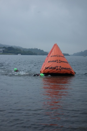 Me going round the buoy at the end of lap 1 - halfway there