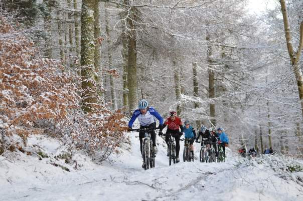 Here we are riding in a line up the hill. I'm just behind German, in red, as I was for a lot of the race!