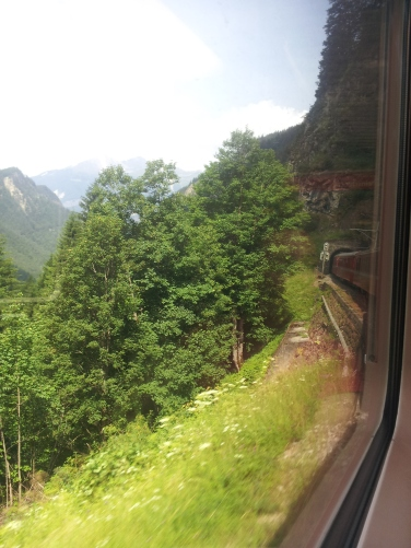 Bye bye Engadin, going down on the train