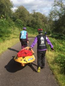 Heading down the road for the final kayak