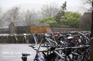 Bikes hanging outside ready to go - we were allowed to mark up the maps indoors!